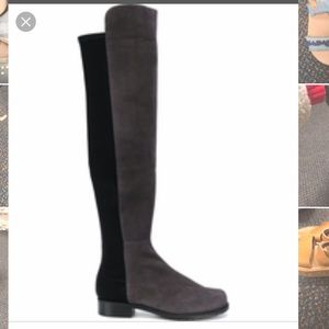Never worn knee high grey boots